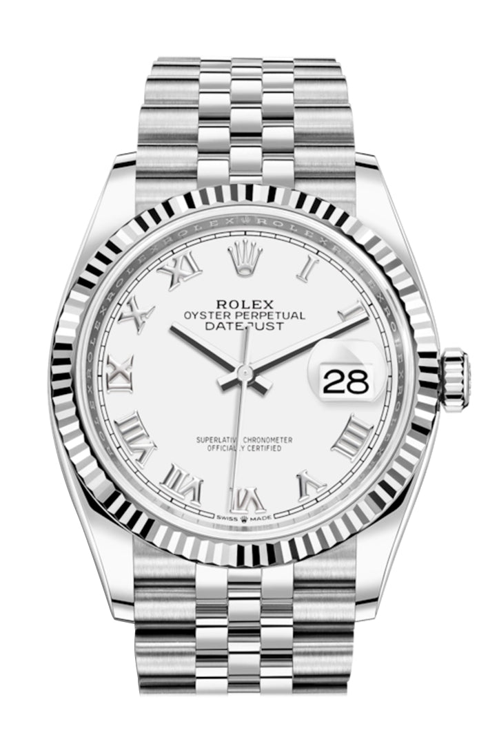 Rolex Datejust 36 White Roman Dial Automatic Jubilee Watch 126234