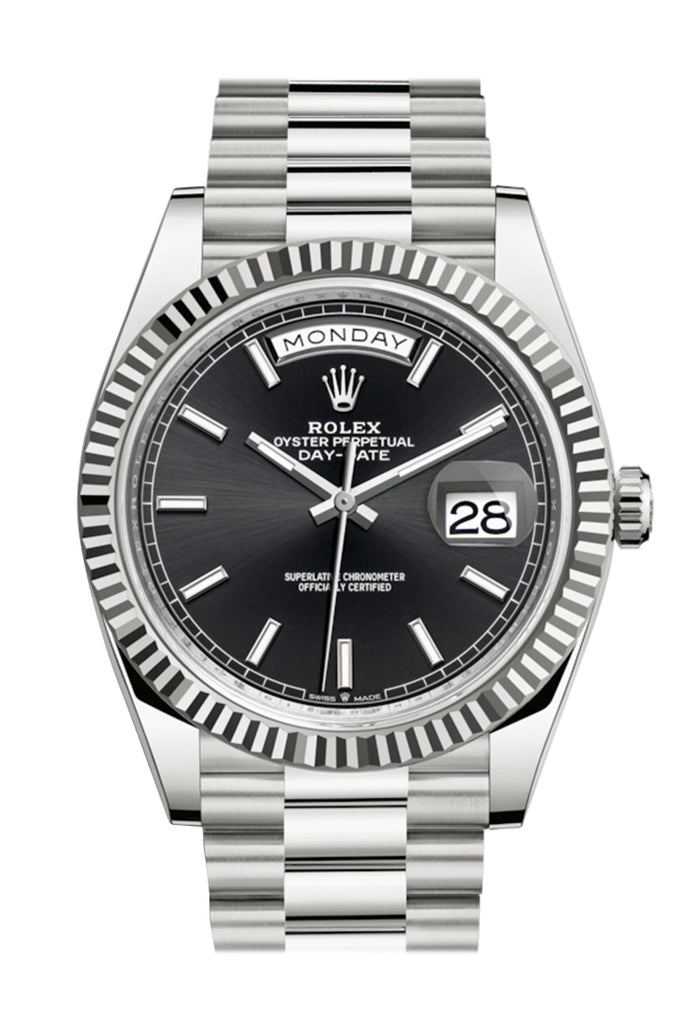 Rolex Day-Date 40 Black Dial Fluted Bezel White Gold President Automatic Men's Watch 228239