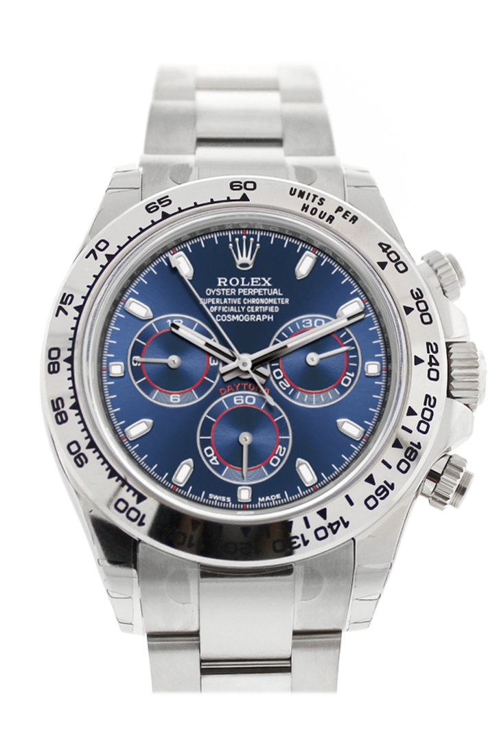 Rolex Cosmograph Daytona 40 Blue Dial White Gold Oyster Mens Watch 116509