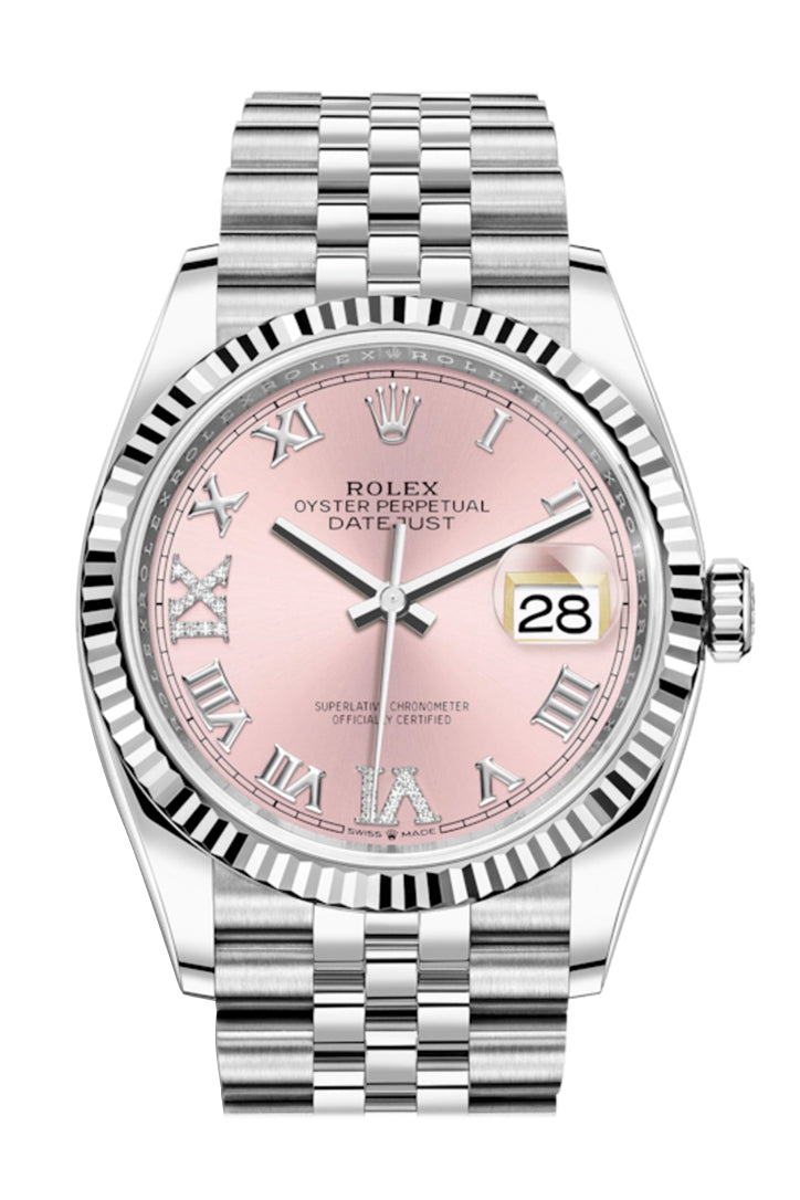 Rolex Datejust 36 Pink Roman VI and IX 24 Diamonds Dial Automatic Jubilee Watch 126234