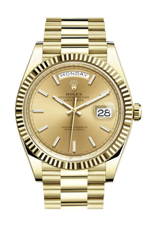 Rolex Day-Date 40 Champagne Dial 18K Yellow Gold President Automatic Men's Watch 228238