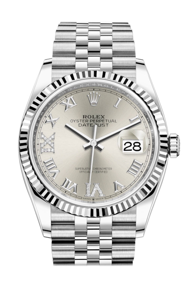 Rolex Datejust 36 Silver Roman VI and IX 24 Diamonds Dial Automatic Jubilee Watch 126234