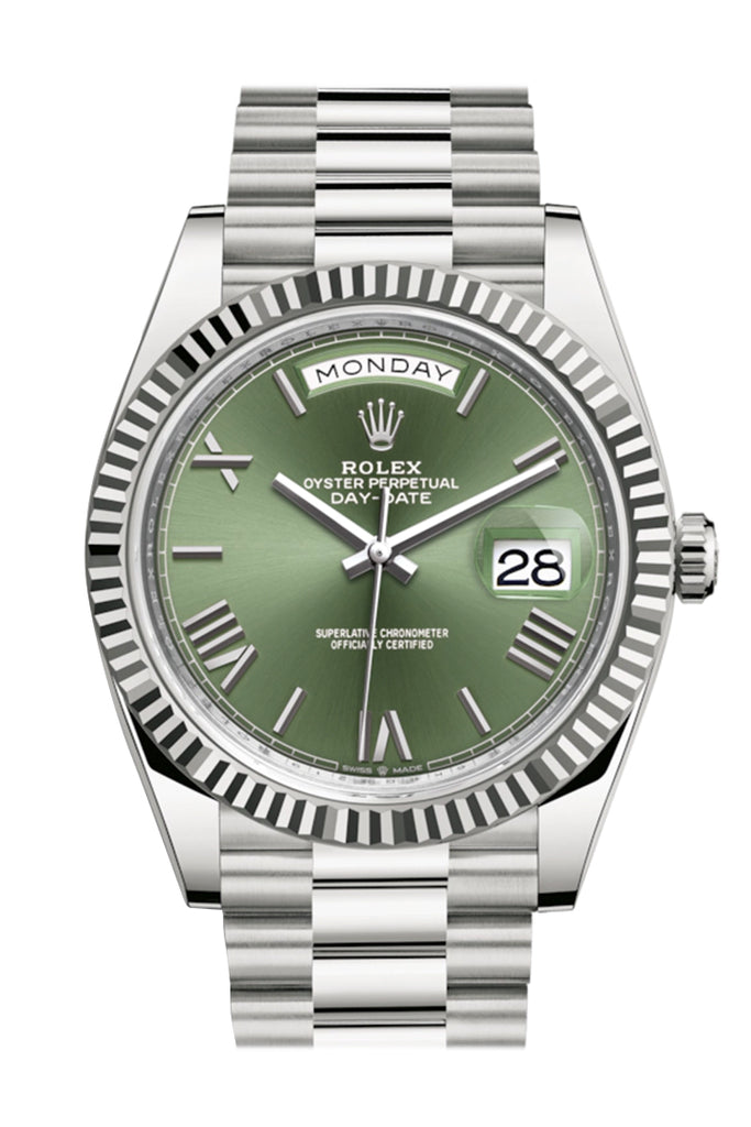 Rolex Day-Date 40 Olive Green Roman Dial Fluted Bezel White Gold President Automatic Men's Watch 228239