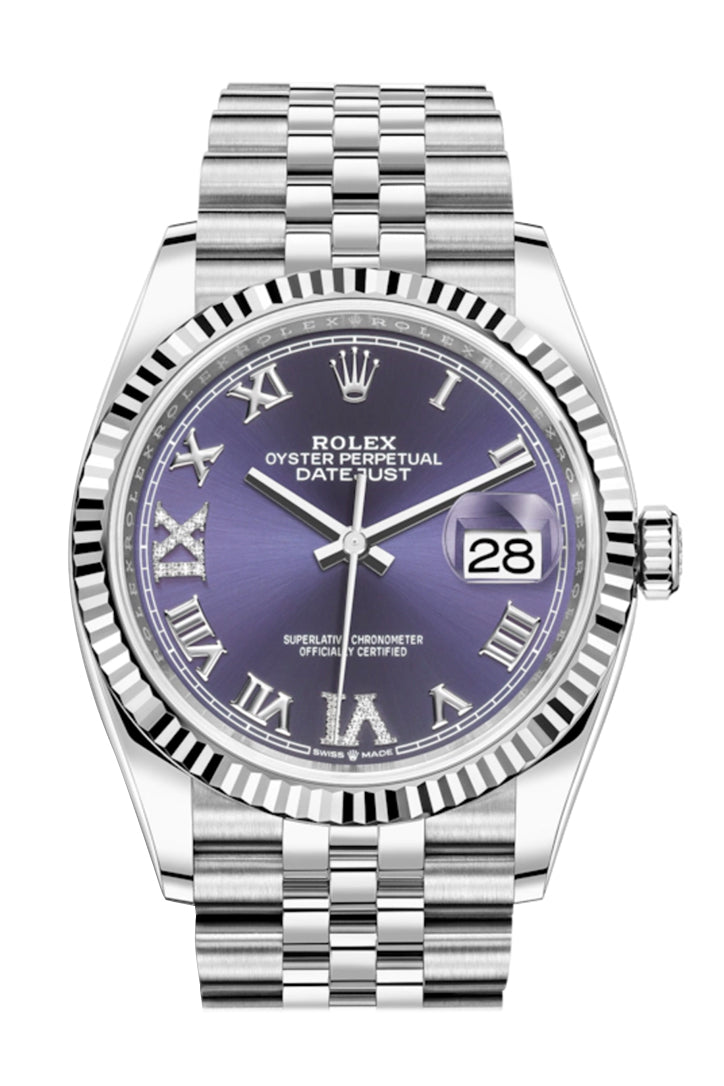 Rolex Datejust 36 Purple Roman VI and IX 24 Diamonds Dial Automatic Jubilee Watch 126234