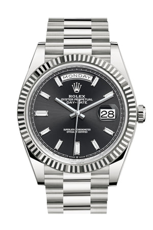 Rolex Day-Date 40 Black Diamond Dial Fluted Bezel White Gold President Automatic Men's Watch 228239