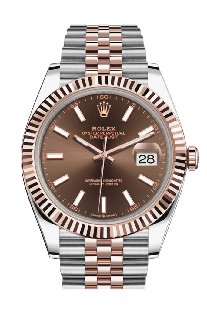 ROLEX Datejust  41 Chocolate Dial 18K Rose Gold and Steel Men's Watch 126331