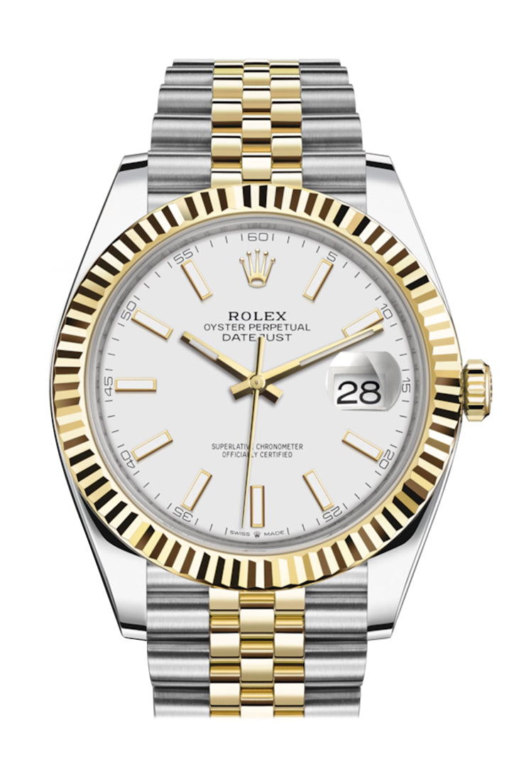 Rolex Datejust 41 White Dial Fluted Bezel 18k Yellow Gold Jubilee Mens Watch 126333