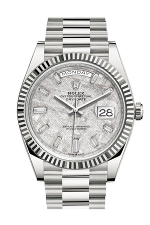 Rolex Day-Date 40 Meteorite Diamond Dial Fluted Bezel White Gold President Automatic Men's Watch 228239