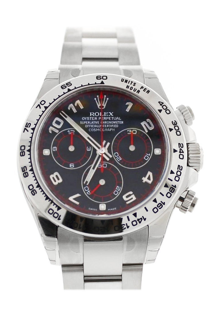 Rolex Cosmography Daytona Black Arabic Dial Oyster Bracelet 18K White Gold Mens Watch 116509