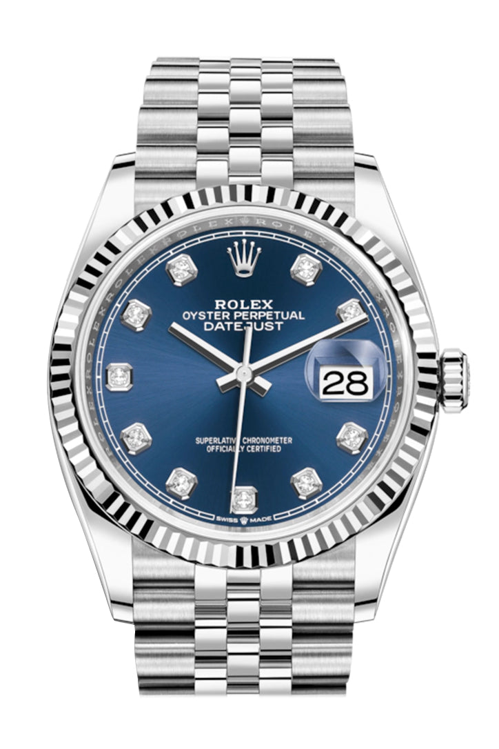 Rolex Datejust 36 Blue Diamond Dial Automatic Jubilee Watch 126234