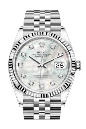 Rolex Datejust 36 White mother-of-pearl Diamond Dial Automatic Jubilee Watch 126234