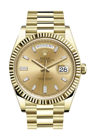 Rolex Day-Date 40 Champagne 10 Baguette Diamond Dial 18K Yellow Gold President Automatic Men's Watch 228238