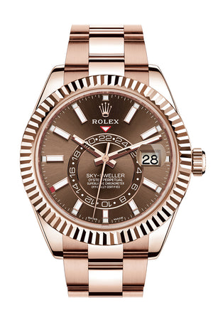ROLEX Sky-Dweller 42 Chocolate Dial 18K Rose Gold Men's Watch 326935