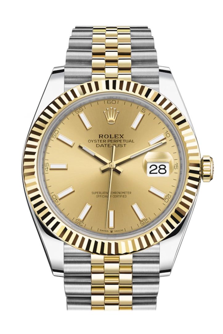 Rolex Datejust 41 Champagne Dial Fluted Bezel 18k Yellow Gold Jubilee Mens Watch 126333