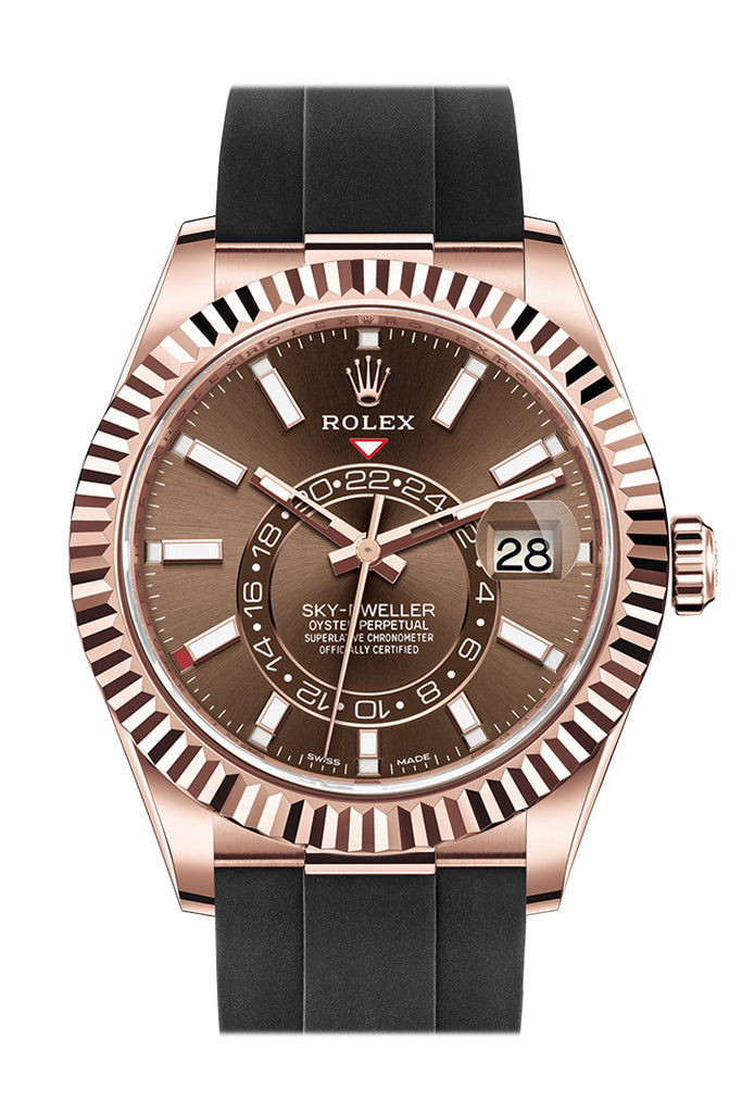 ROLEX Sky-Dweller 42 Chocolate Dial 18K Rose Gold Men's Watch 326235