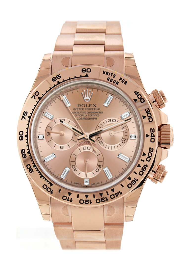 Rolex Cosmograph Daytona Pink Diamond Dial 18K Everose Gold Oyster Automatic Mens Watch 116505