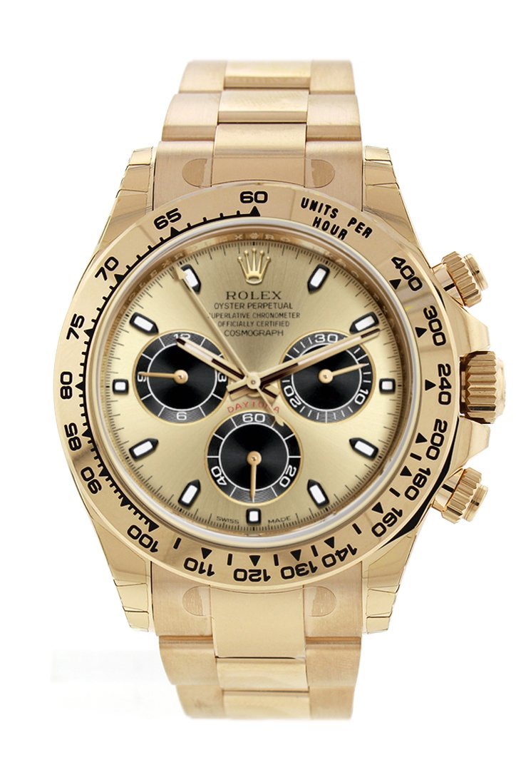 Rolex Cosmograph Daytona Black And Champagne Dial Mens 18Kt Yellow Gold Oyster Watch 116508