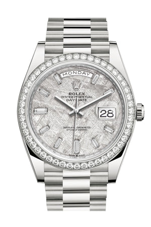 Rolex Day-Date 40 Meteorite Baguette Diamond Dial Diamond Bezel White Gold President Automatic Men's Watch 228349RBR 228349