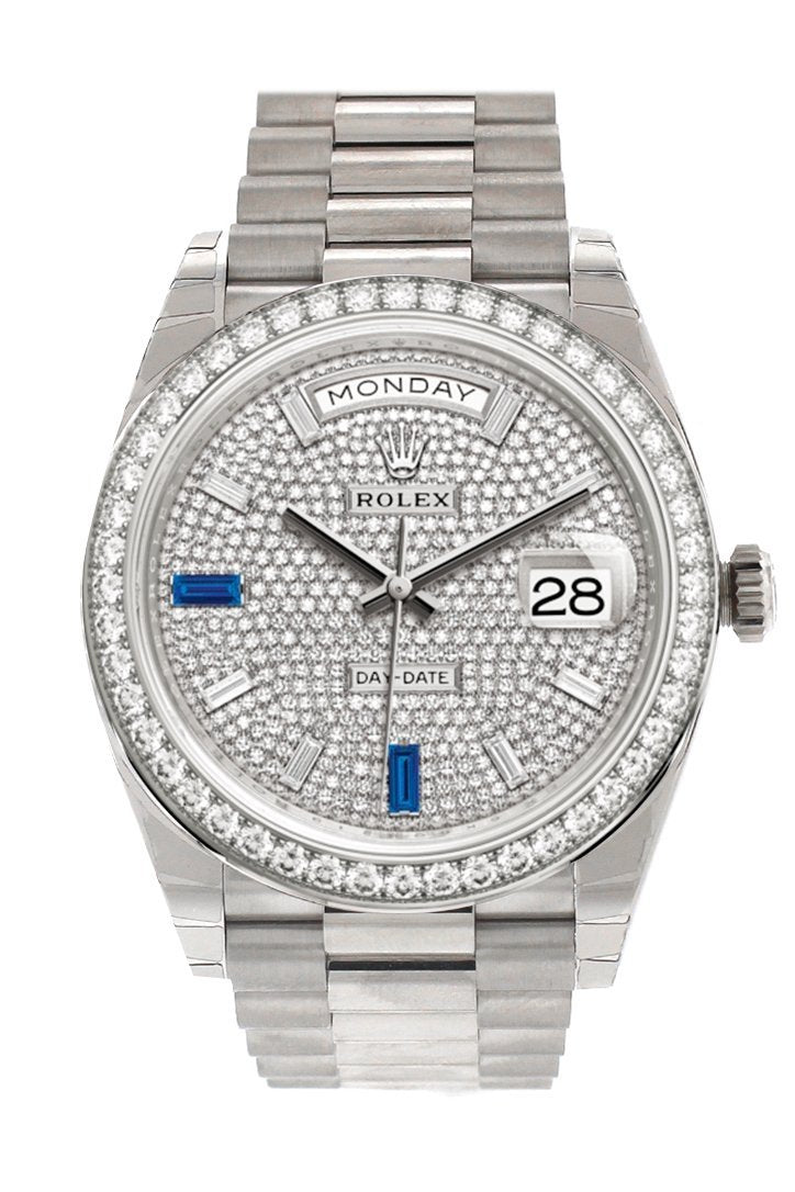Rolex Day-Date 40 Paved Diamond And Sapphires Dial Bezel White Gold President Automatic Mens Watch