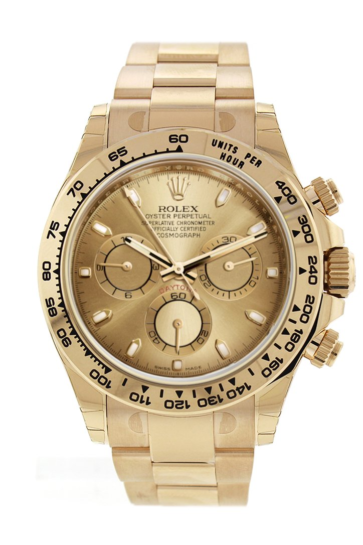 Rolex Cosmograph Daytona Champagne Dial Mens 18Kt Yellow Gold Oyster Watch 116508