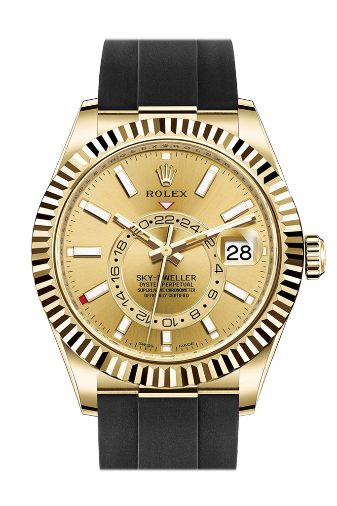 ROLEX Sky-Dweller 42 Champagne Dial 18K Yellow Gold Men's Watch 326238