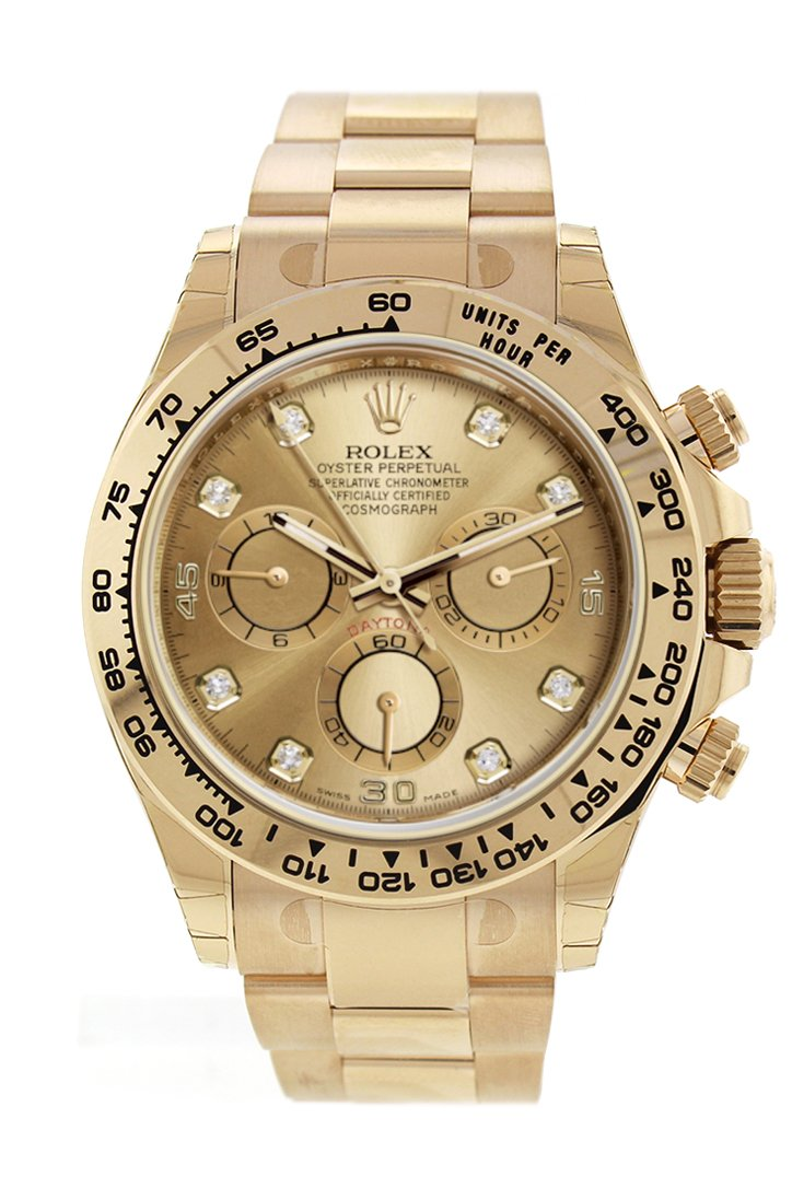 Rolex Cosmograph Daytona Champagne Diamond Dial Automatic Mens Watch 116508