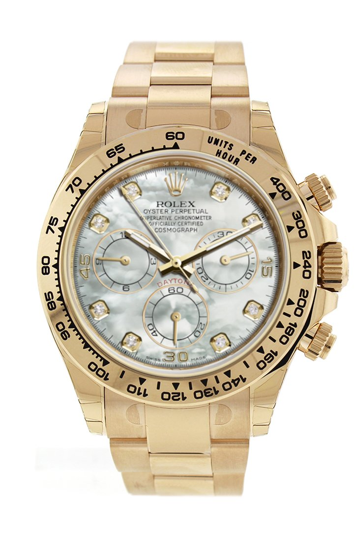 Rolex Cosmograph Daytona White Mother Of Pearl Dial 18K Yellow Gold Mens Watch 116508