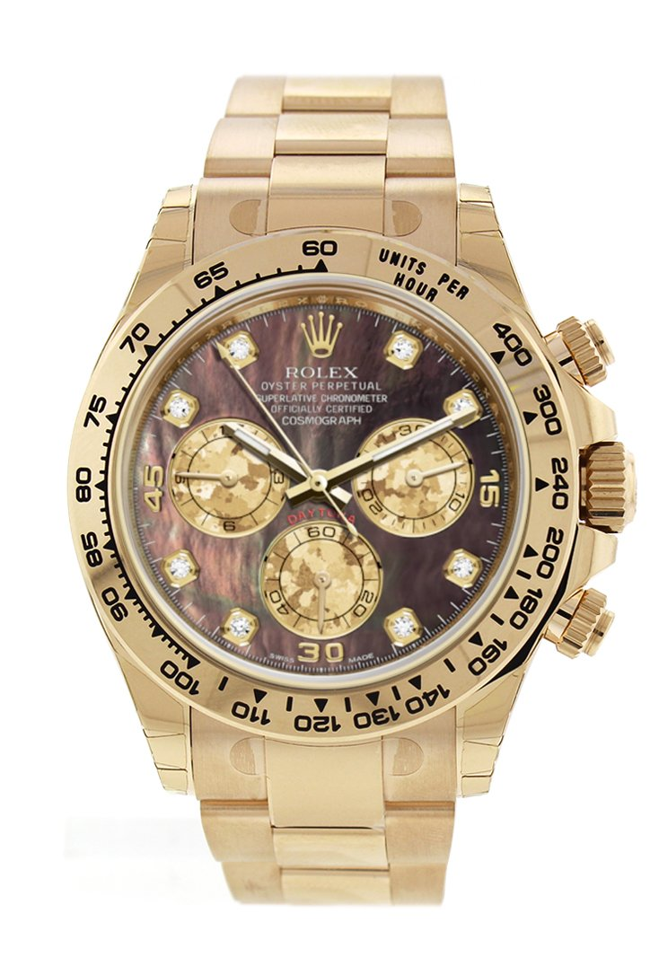 Rolex Cosmograph Daytona Black Mother Of Pearl Dial 18K Yellow Gold Mens Watch 116508