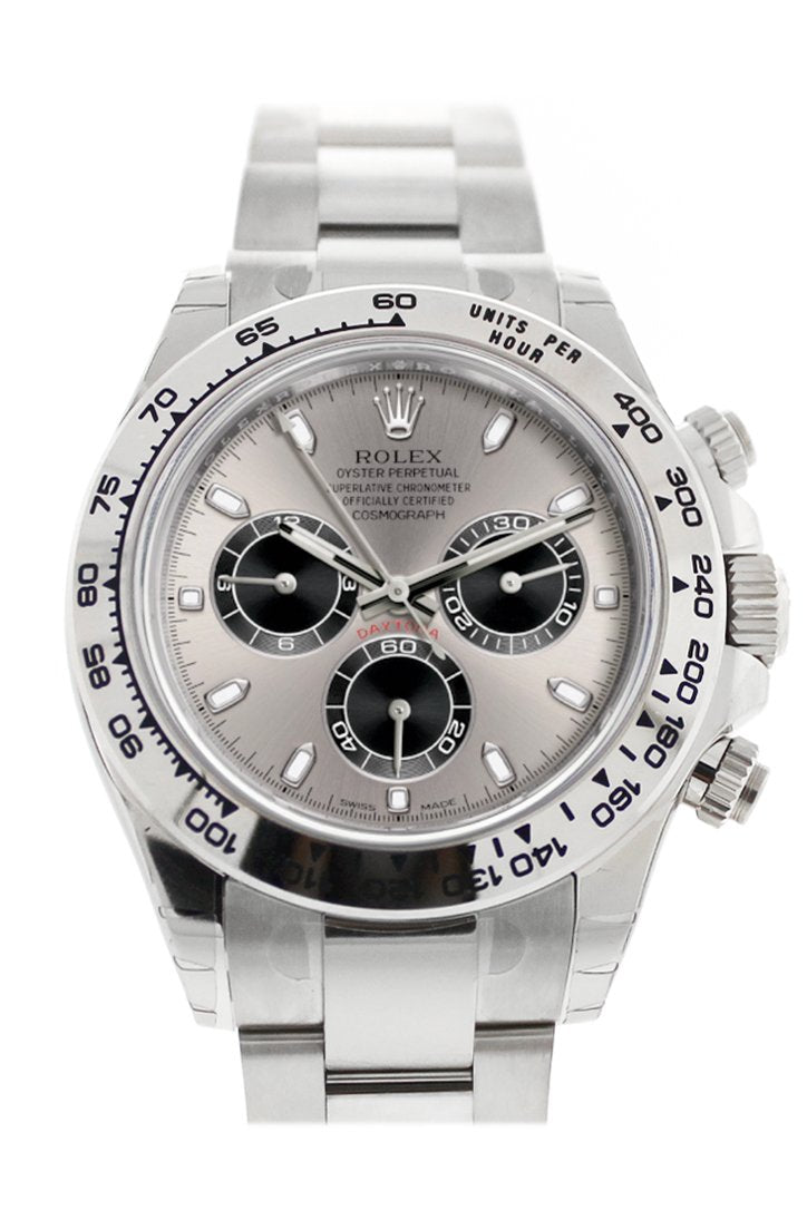 Rolex Cosmograph Daytona Steel And Black Dial White Gold Oyster Mens Watch 116509