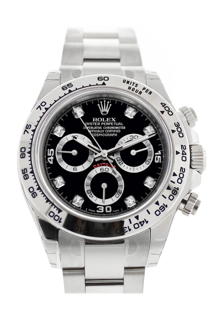 Rolex Cosmograph Daytona Black Diamond Dial White Gold Oyster Mens Watch 116509