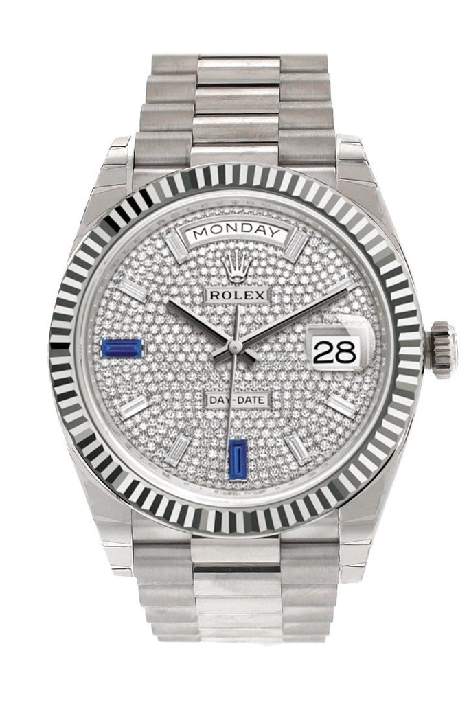 Rolex Day-Date 40 Paved Diamond And Sapphires Dial Fluted Bezel White Gold President Automatic Mens