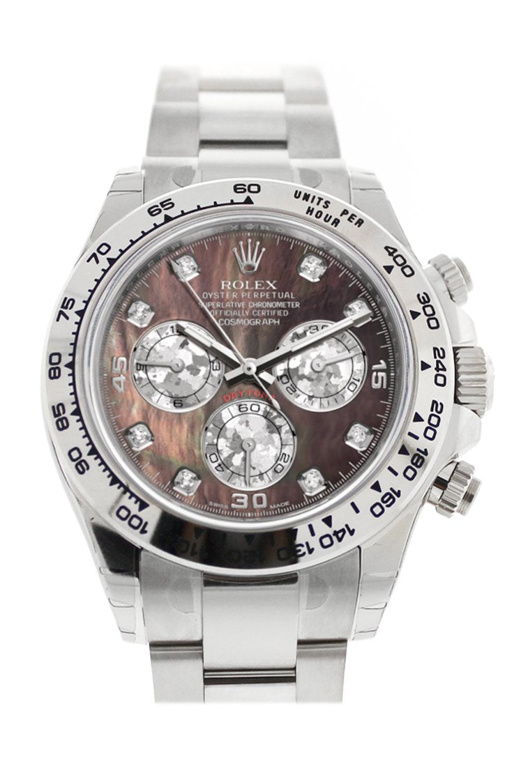 Rolex Cosmograph Daytona Black Mother Of Pearl Diamond Dial White Gold Oyster Mens Watch 116509