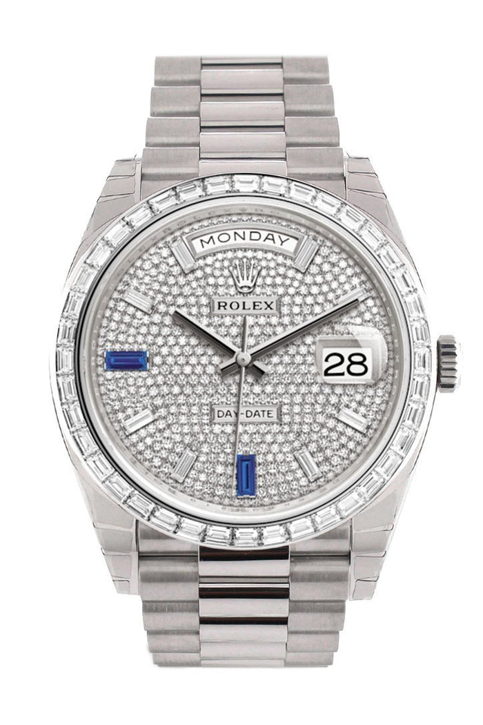 Rolex Day-Date 40 Paved Diamond Sapphires Dial 40 Baguette Diamond Bezel Platinum President Automatic Men's Watch 228396TBR