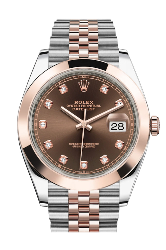 Rolex Datejust 41 Chocolate Brown Dial Steel and 18K Rose Gold Men's Watch 126301