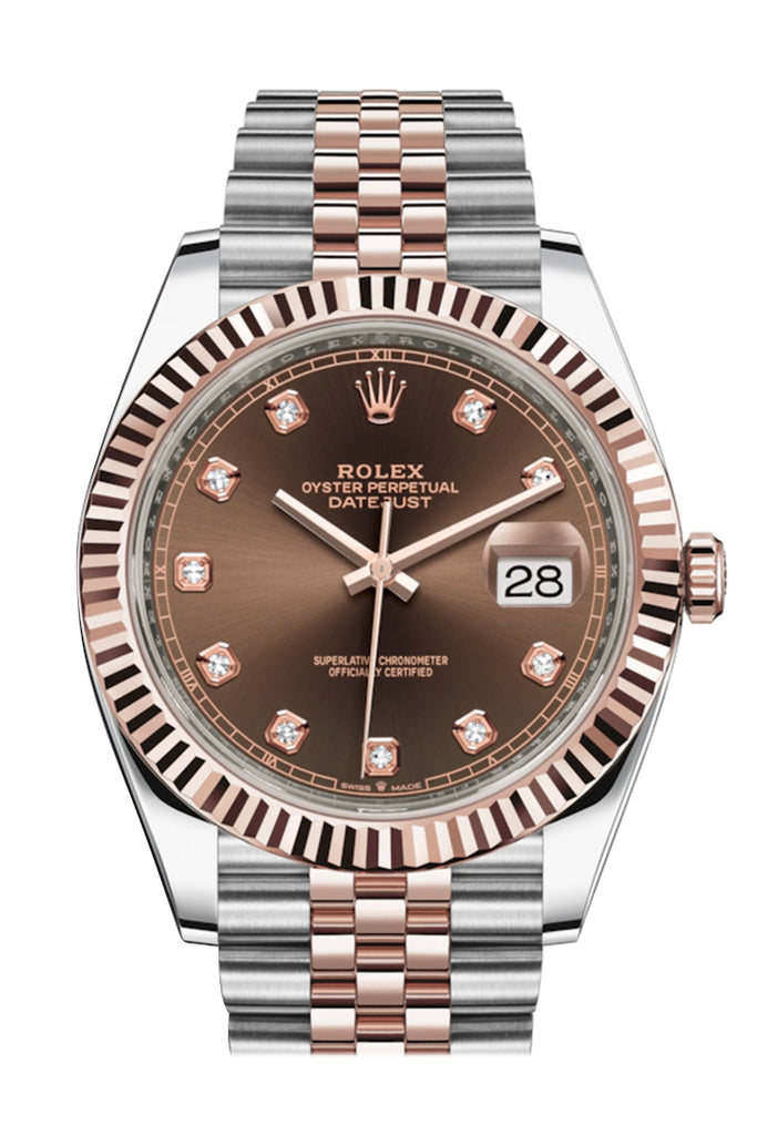 Rolex Datejust II 41 Chocolate Set Diamonds Dial 18K Rose Gold Mens Watch 126331