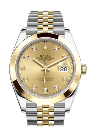Rolex Datejust 41 Champagne Diamond Dial Steel and 18K Yellow Gold Jubilee Men's Watch 126303