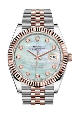 Rolex Datejust 41 Mother-of-pearl set with Diamonds Dial Rose Gold Fluted Bezel Jubilee Mens Watch 126331