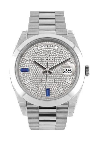 Rolex Day-Date 40 Paved Diamond Sapphires Dial Dome Bezel Platinum President Automatic Mens Watch