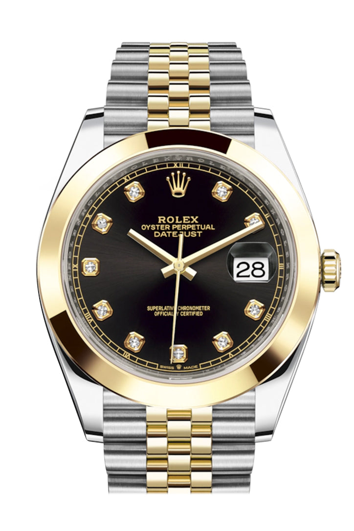 Rolex Datejust 41 Black Diamond Dial Steel and 18K Yellow Gold Jubilee Men's Watch 126303