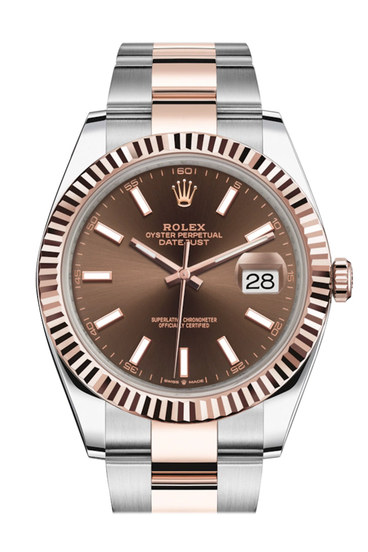ROLEX Datejust 41 Chocolate Dial Rose Gold And Steel Men's Watch 126331