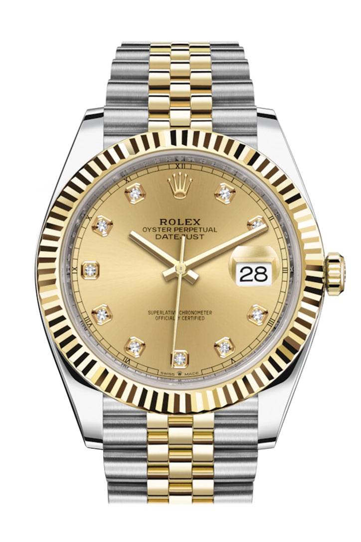 Rolex Datejust 41 Champagne Diamond Dial Fluted Bezel 18k Yellow Gold Jubilee Mens Watch 126333