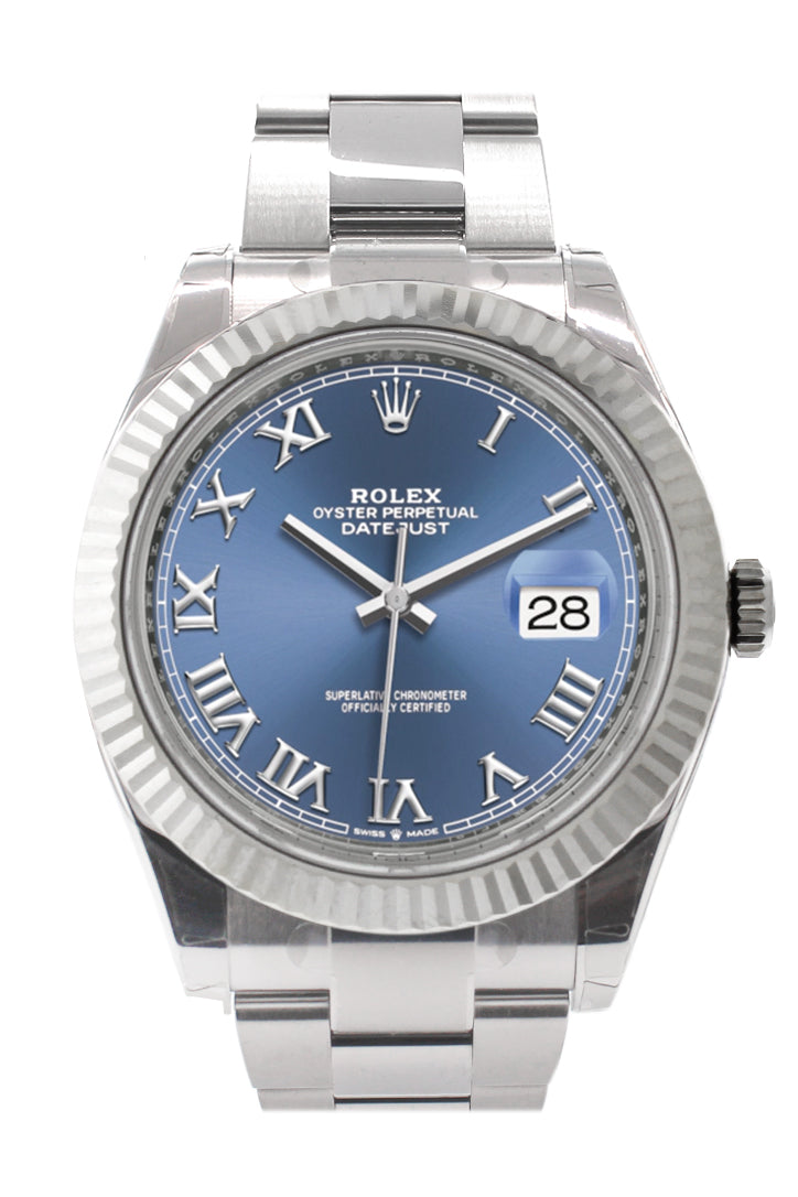 Rolex Datejust 41 Blue Roman Dial White Gold Fluted Bezel Oyster Mens Watch 126334