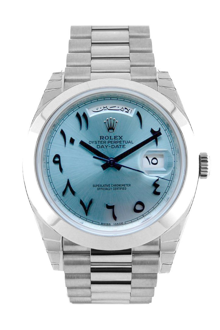 Rolex Day-Date 40 Ice Blue Hindu Arabic Numerals Dial Dome Bezel Platinum President Automatic Mens
