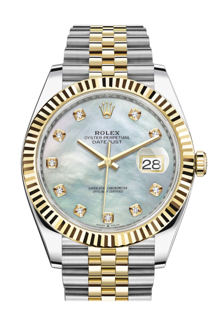 Rolex Datejust 41 Mother of Pearl Diamond Dial Fluted Bezel 18k Yellow Gold Jubilee Mens Watch 126333