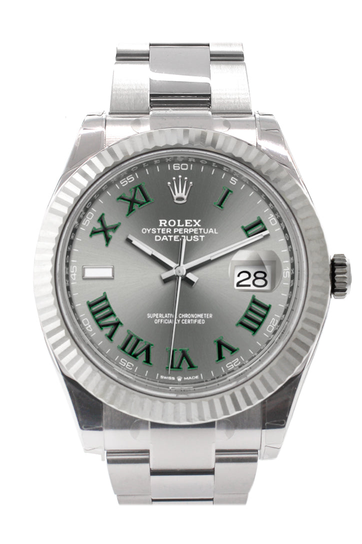 Rolex Datejust 41 Slate Roman Dial White Gold Fluted Bezel Oyster Mens Watch 126334