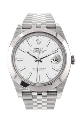 Rolex Datejust 41 White Dial Automatic Men's Jubilee Watch 126300