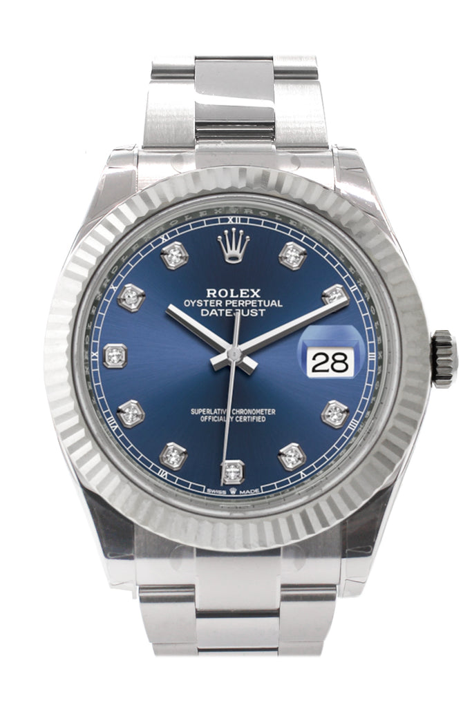 Rolex Datejust 41 Blue Set with Diamonds Dial White Gold Fluted Bezel Mens Watch 126334