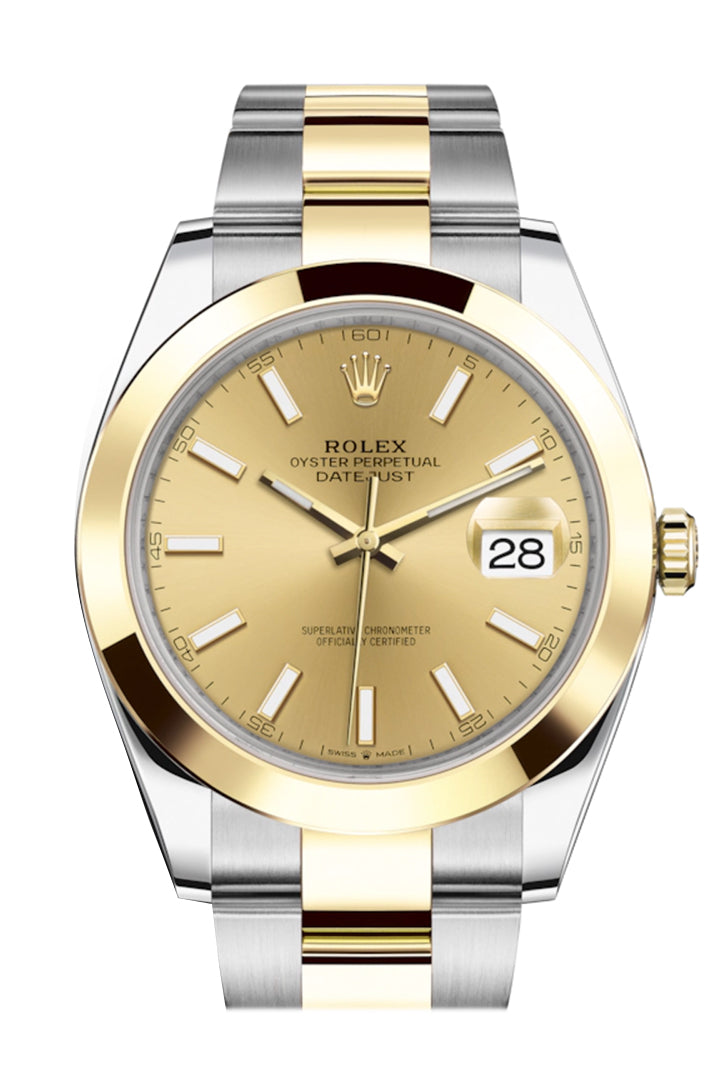 Rolex Datejust 41 Champagne Dial Steel and 18K Yellow Gold Oyster Men's Watch 126303