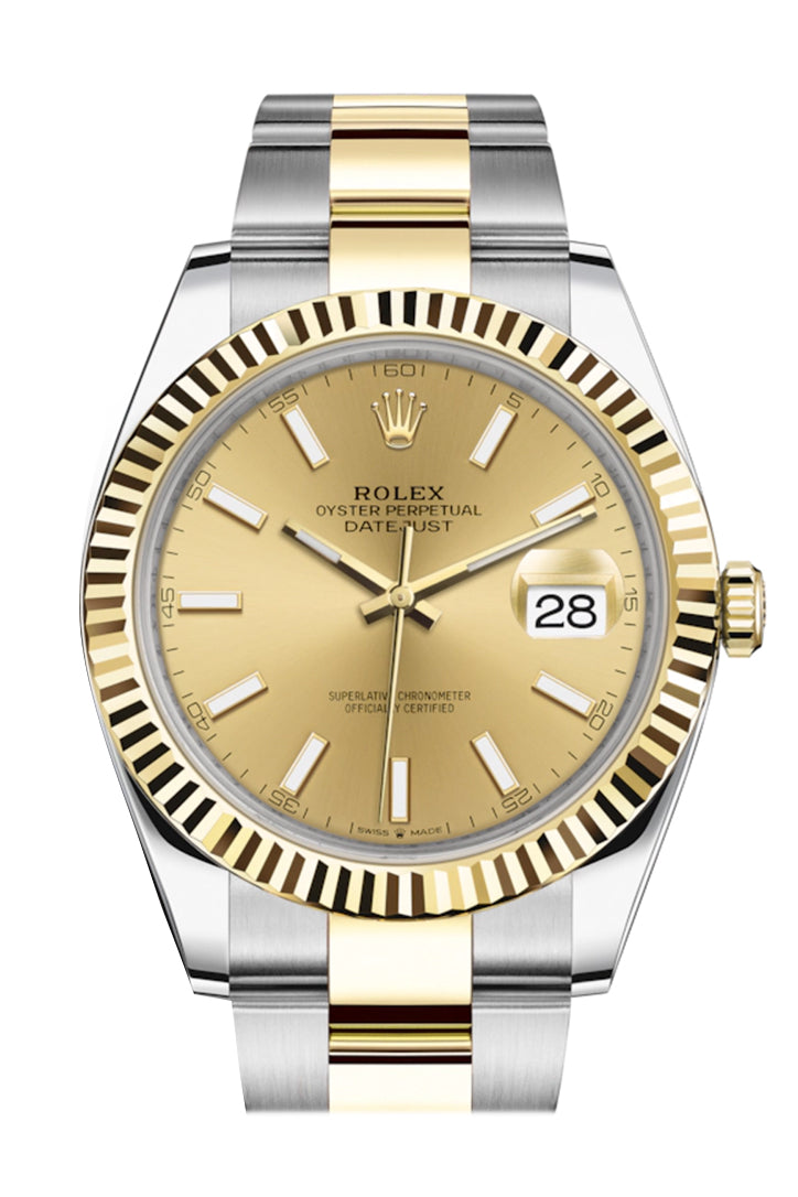 Rolex Datejust 41 Champagne Dial Fluted Bezel 18k Yellow Gold Mens Watch 126333
