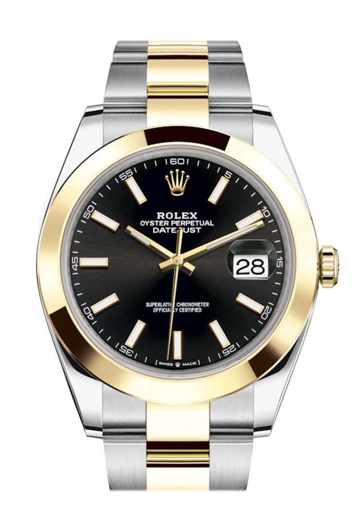 Rolex Datejust 41 Black Dial Steel and 18K Yellow Gold Oyster Men's Watch 126303